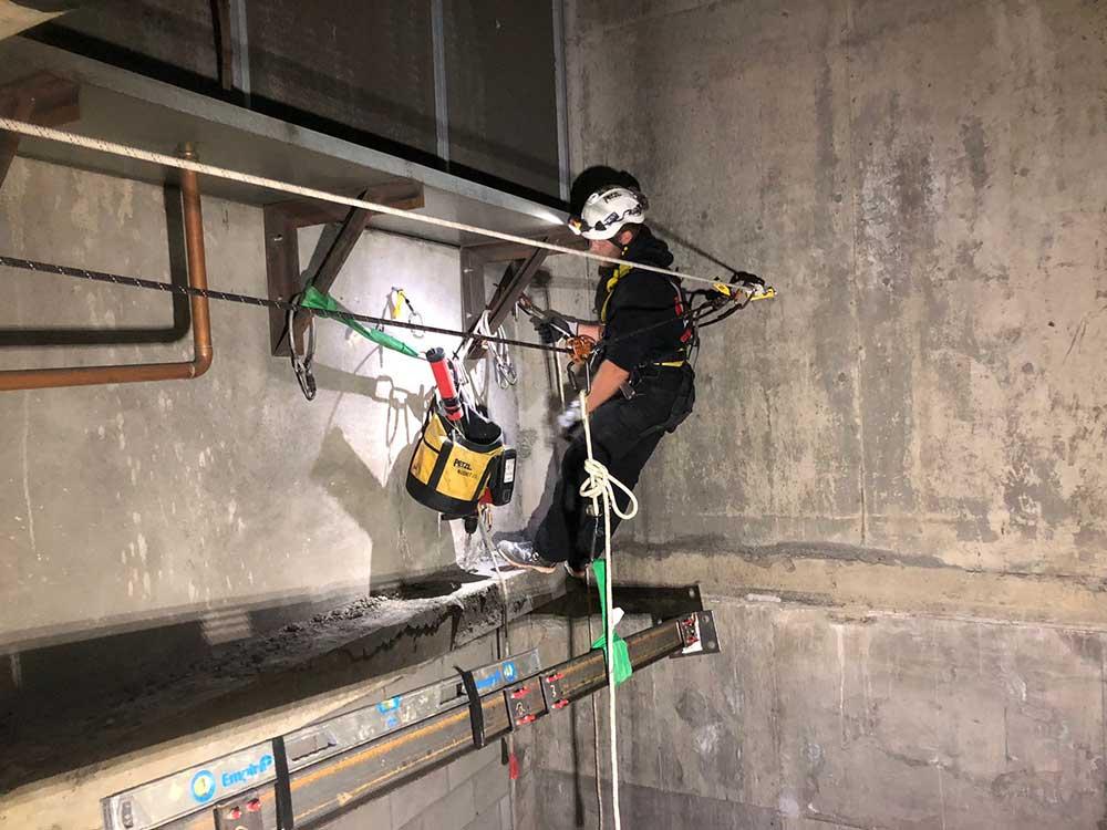 Concrete repair Industrial Ropes Access Services Alberta